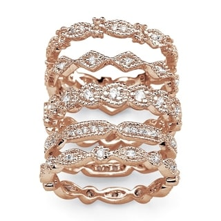 Rose Gold-plated Cubic Zirconia 5 Piece Eternity Ring - White by Palm Beach Jewelry