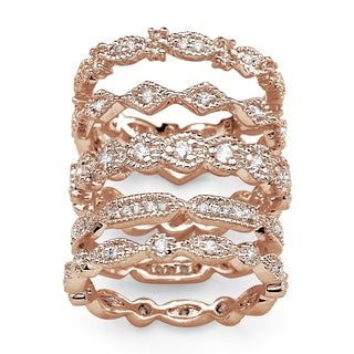 Rose Gold-plated Cubic Zirconia 5 Piece Eternity Ring - White (3 options available)