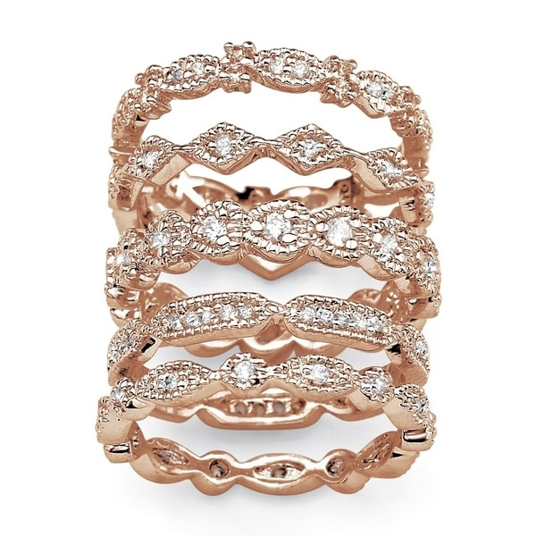 Rose Gold-plated Cubic Zirconia 5 Piece Eternity Ring - White