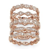 1.55 TCW Cubic Zirconia Five-Piece Eternity Band Set in Rose Gold-Plated Classic CZ