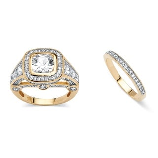 2 Piece 4.67 TCW Cubic Zirconia Bridal Ring Set 18k Gold-Plated Glam CZ