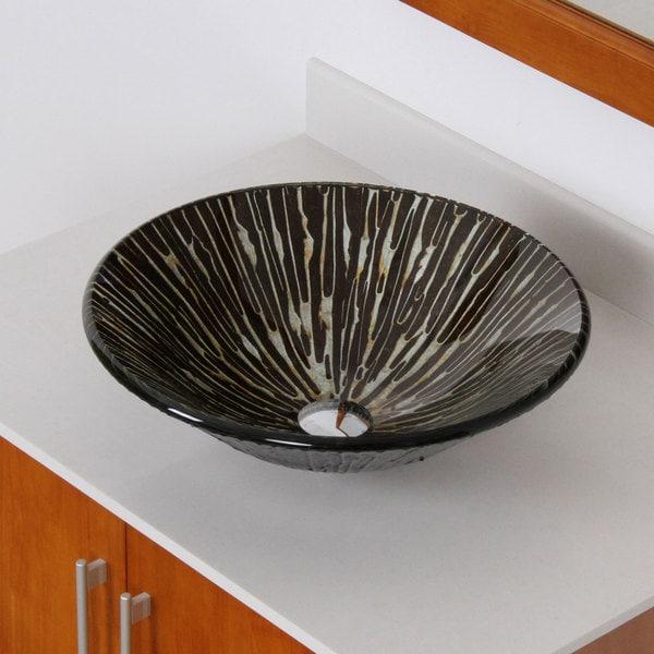 Elite 1311' Modern Tempered Glass Bathroom Vessel Sink