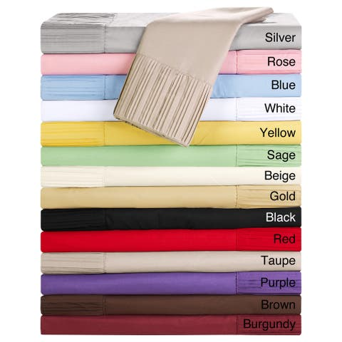 Luxury Home Collection 4-piece Pleated Microfiber Sheet Set
