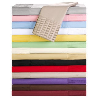 Luxury Home Collection 4-piece Pleated Microfiber Sheet Set (More options available)