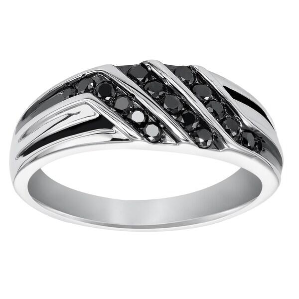 Cambridge Mens Sterling Silver 12ct TDW Black Diamond Ring