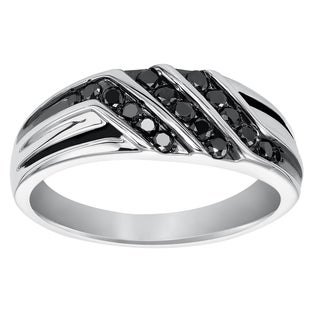 Cambridge Men's Sterling Silver 1/2ct TDW Black Diamond Ring