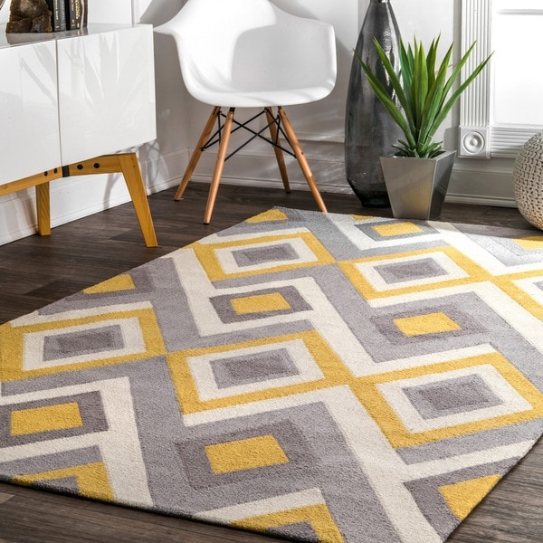 Shop Nuloom Handmade Geometric Triangle Grey Rug 5 X 8