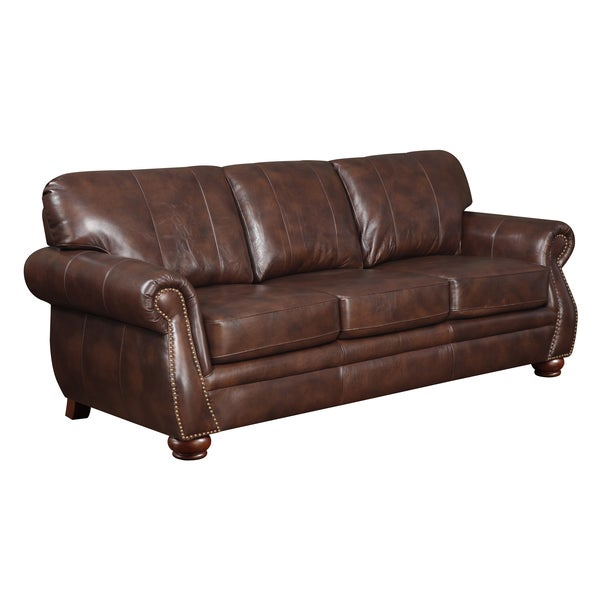 At Home Designs Monterey Natural Brown Leather Sofa