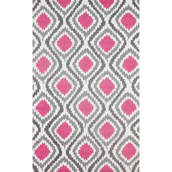 NuLOOM Hanmade Modern Ikat Pink Rug (5' X 8')