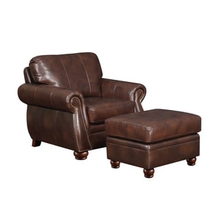 At Home Designs Monterey Natural Brown Leather Ottoman