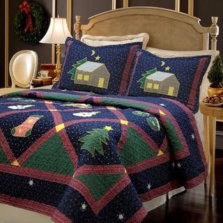Cozy Line Christmas Night Patchwork 3-piece Quilt Set