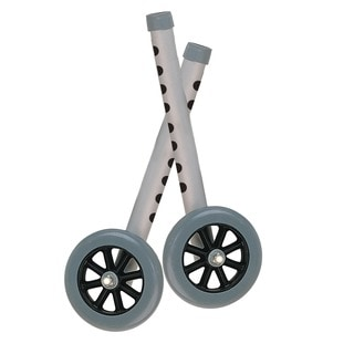 Drive Medical 5-inch Grey Walker Wheels of Rear Glides for Use with Universal Walker (Set of 2)