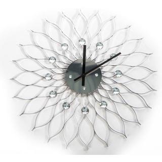 George Nelson Stylized 24-inch Silver Metal Sunflower Clock