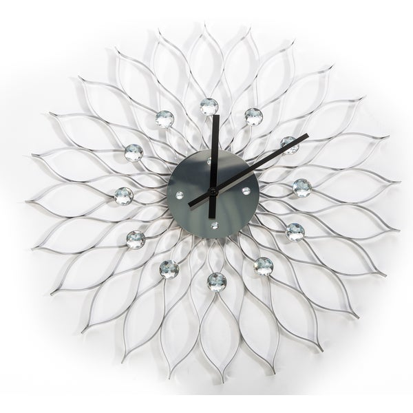 George Nelson Stylized 24-inch Silver Metal Sunflower Clock
