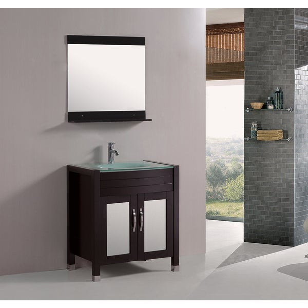 Kokols tempered glass top 30 inch single sink bathroom vanity with mirror and faucet free for 30 inch bathroom vanity with sink