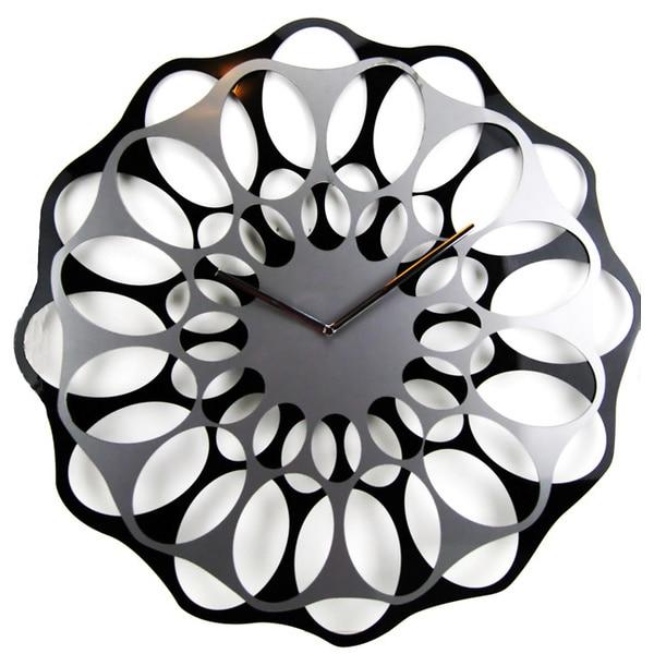 Modern Mid-century 19-inch Laser Etch Interlace Clock