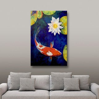 Michael Creese 'Kohaku Koi and Water Lily' Gallery-Wrapped Canvas Art