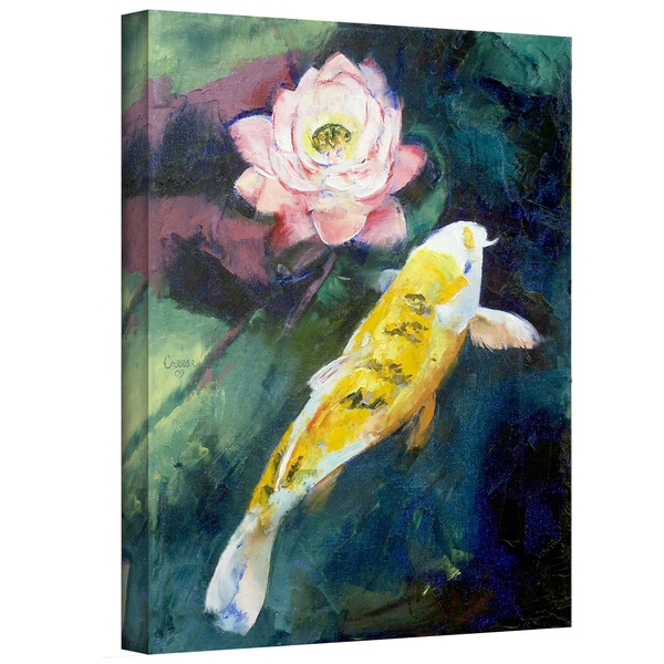 Shop michael creese koi and lotus flower gallery wrapped canvas michael creese x27koi and lotus flowerx27 gallery wrapped mightylinksfo