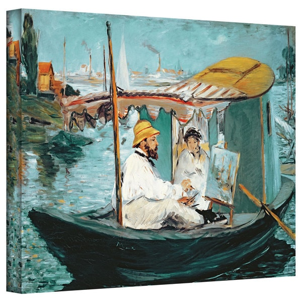 Art Wall Edouard Manet 'Monet in his floating studio' Gallery-wrapped Canvas