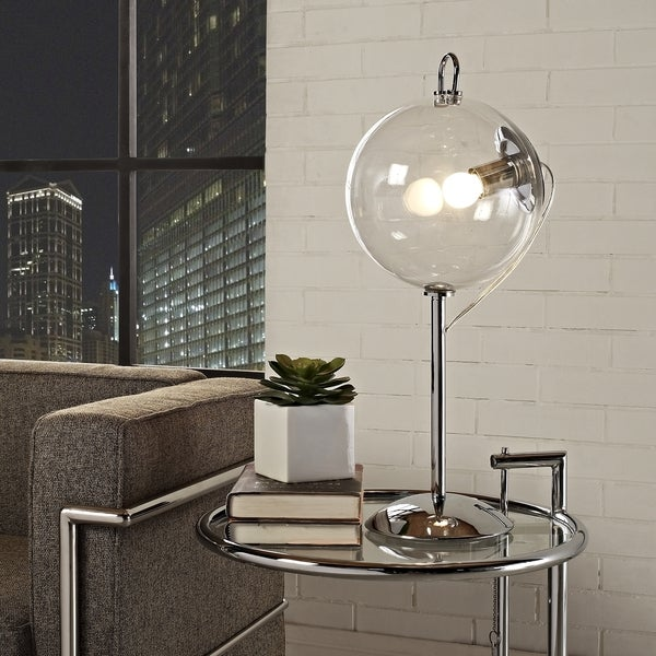 Modway U0026#x27;Cheeru0026#x27; Transparent Glass Shade Modern Table Lamp
