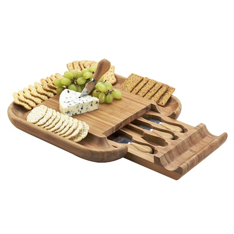 Picnic at Ascot Original Malvern Bamboo Cheese Board Set with 4 Tools and Deep Cracker Well Rim - Brown