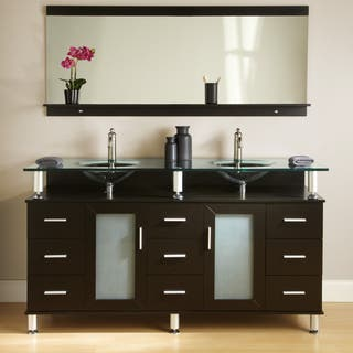 double vanity sink 60 inches. Kokols Double Tempered Glass Top Vanity Size Vanities 51 60 Inches Bathroom