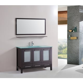Kokols 48-inch Floor Bathroom Cabinet Tempered Glass Top with Mirror and Faucet