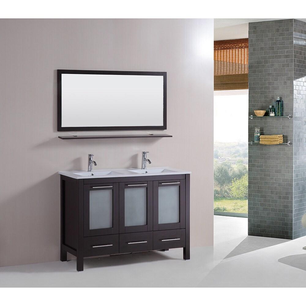 Kokols 48-inch Double Vanity Bathroom Ceramic Sink Cabine...