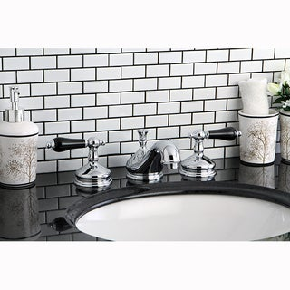 Modern Chrome and Black Widespread Bathroom Faucet