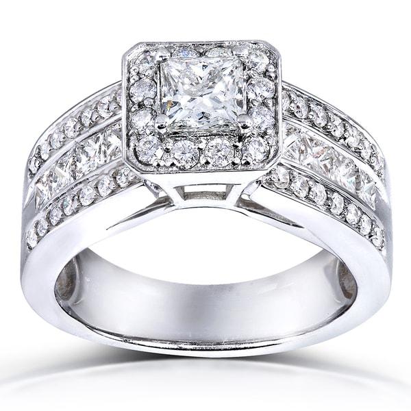 Annello 14k White Gold 1 2/5ct TDW Princess Shape Diamond Halo Ring