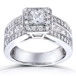 Annello 14k White Gold 1 2/5ct TDW Princess Shape Diamond Halo Ring