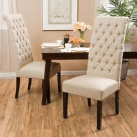 Tall Dark Beige Tufted Fabric Dining Chair (Set of 2) by Christopher Knight Home