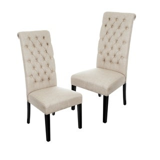 Tall Dark Beige Tufted Fabric Dining Chair (Set of 2) by Christopher Knight Home (Tall Dark Beige Tufted Dining Chair (Set of 2))
