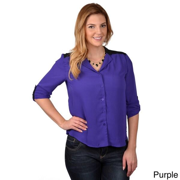 Tressa Designs Women's Contemporary Plus Button-up Chiffon Top