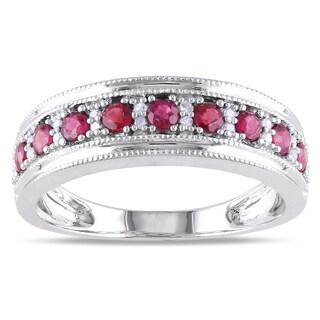 Miadora 10k White Gold Ruby and 1/10ct TDW Diamond Ring (G-H, I1-I2)