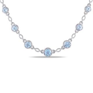 Miadora Sterling Silver 9ct TGW Blue Topaz and Diamond Accent Necklace