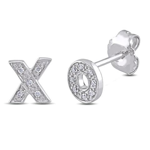 Miadora Sterling Silver Diamond Accent 'X' and 'O' Stud Earrings