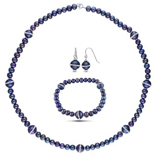 Miadora Sterling Silver 3-pc Set of Pearl Earrings, Necklace and Bracelet