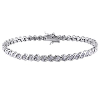 Miadora Sterling Silver 1ct TDW Diamond Tennis Bracelet