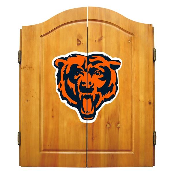 NFL Chicago Bears Wooden Dartboard Cabinet Set