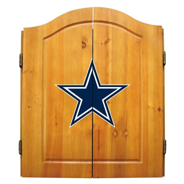 NFL Dallas Cowboys Wooden Dartboard Cabinet Set
