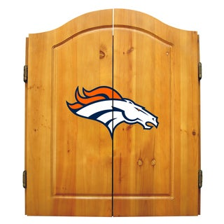 NFL Denver Broncos Wooden Dartboard Cabinet Set