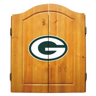 NFL Green bay Packers Wooden Dartboard Cabinet Set