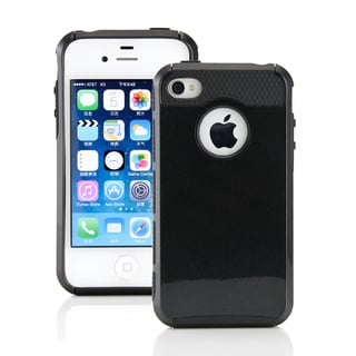 Gearonic Black PC TPU Hard Matte Cover Case For Apple Iphone 4 4S