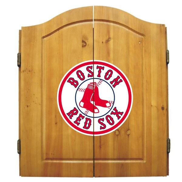 MLB Boston Red Sox Wooden Dartboard Cabinet Set