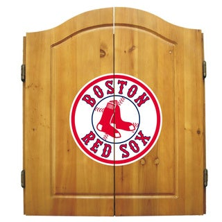 MLB Boston Red Sox Wooden Dartboard Cabinet Set