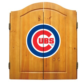 MLB Chicago Cubs Wooden Dartboard Cabinet Set