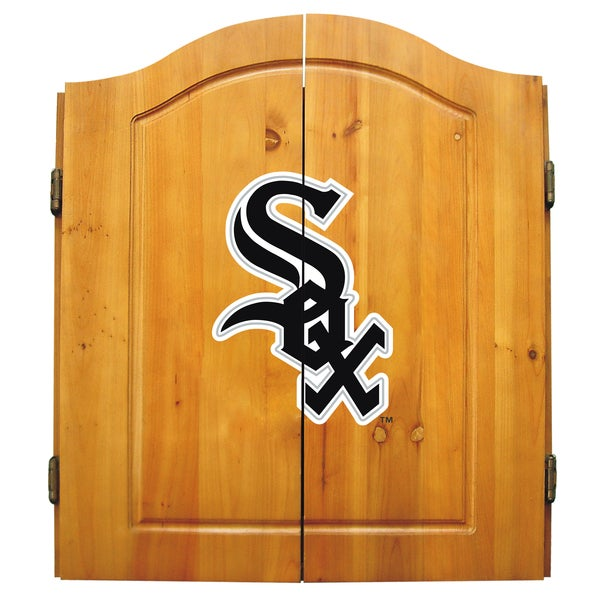 MLB Chicago White Sox Wooden Dartboard Cabinet Set