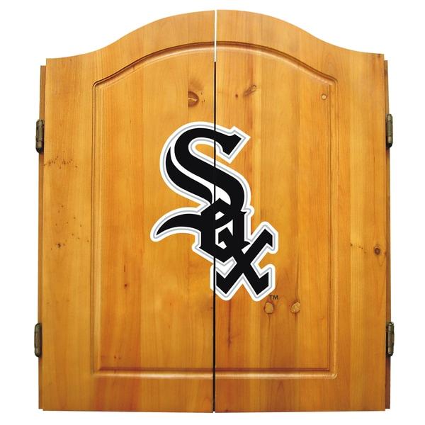 MLB Chicago White Sox Wooden Dartboard Cabinet Set