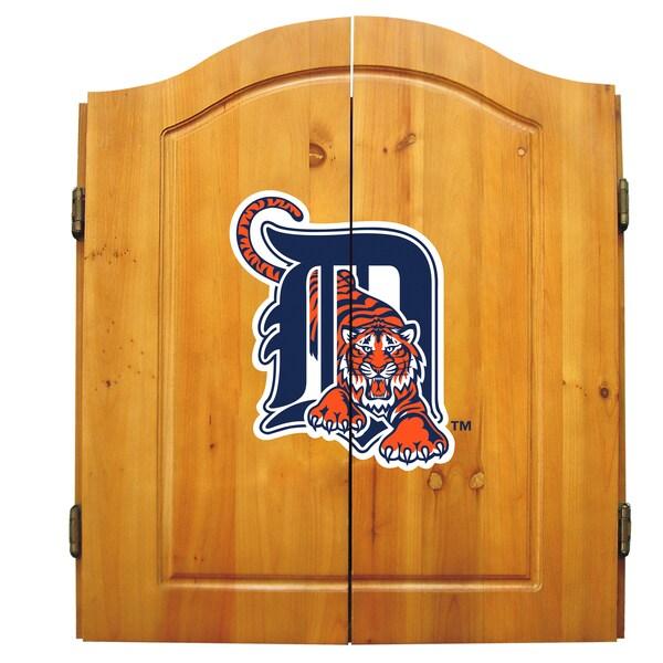 MLB Detroit Tigers Wooden Dartboard Cabinet Set